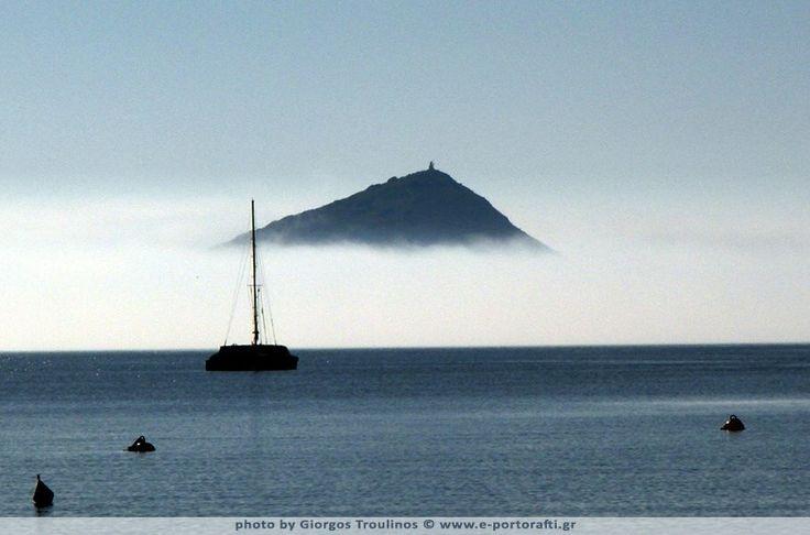 Porto Rafti hidden in the morning fog.