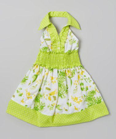 Look at this #zulilyfind! Green Floral Halter Dress - Toddler & Girls by Lele for Kids #zulilyfinds