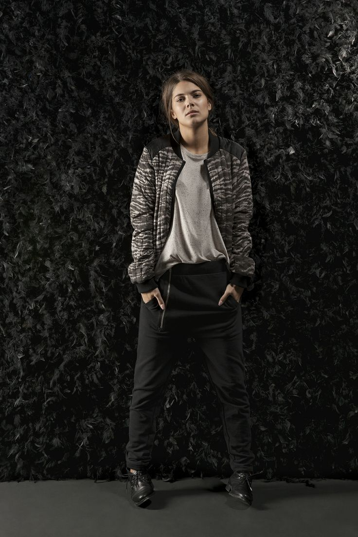 Dee Sweat Pant gives a cool, laid-back look styled with Diana Tee and Delhi Jacket.