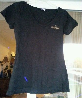 Womens Black Hennessy  Cognac T-Shirt Medium 100% Cotton