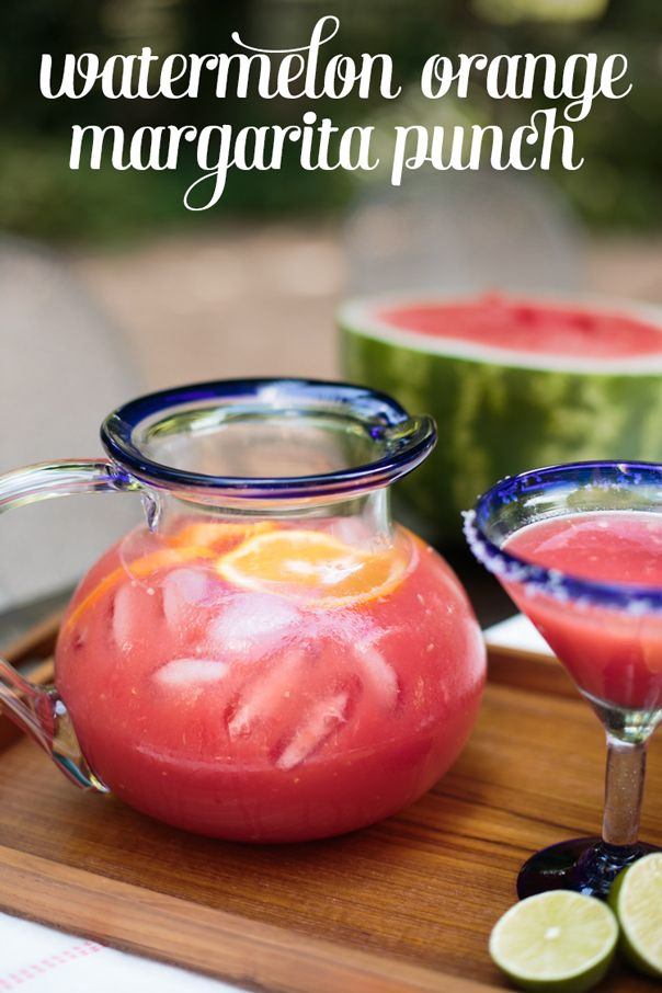 Watermelon Orange Margarita Punch — Make this a mocktail punch by eliminating the tequila. Would be so fun for an end-of-summer party! // Feast + West