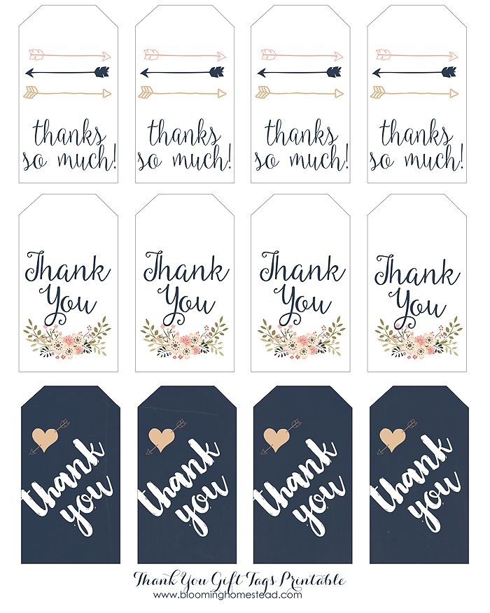 Thank You Gift Tags Wedding Favors Gifts Printable