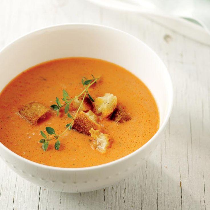 Potage aux poivrons rôtis et aux tomates