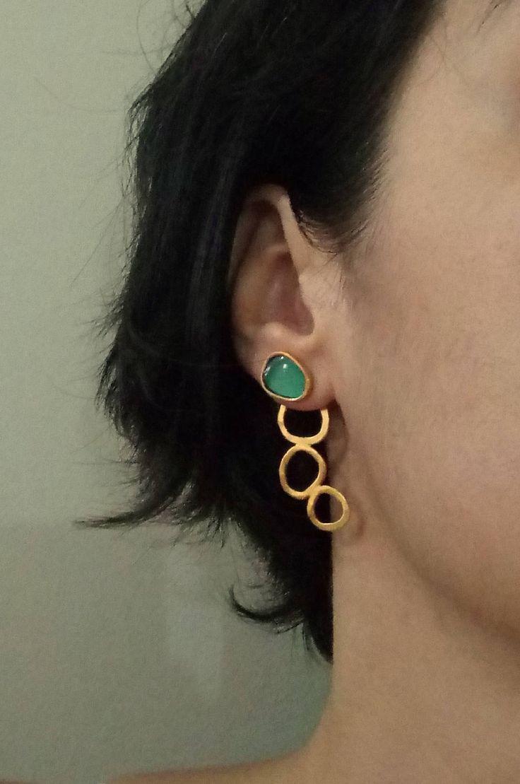 Ear jackets, sterling silver earrings, goldenplated silver,green resin,geometric silver earrings, minimalist earrings, summer trends. by VickyKyritsi on Etsy