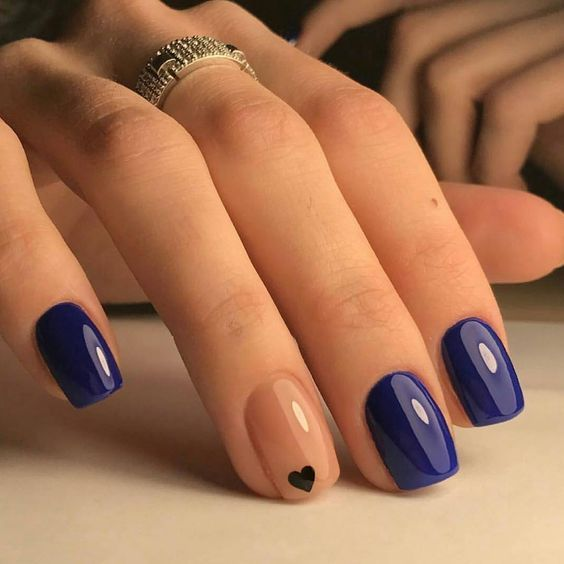 SUMMER NAILS 2017, Beautiful Navy Blue nails with tiny Heart shape. pink nail polish on rounded shaped nail.