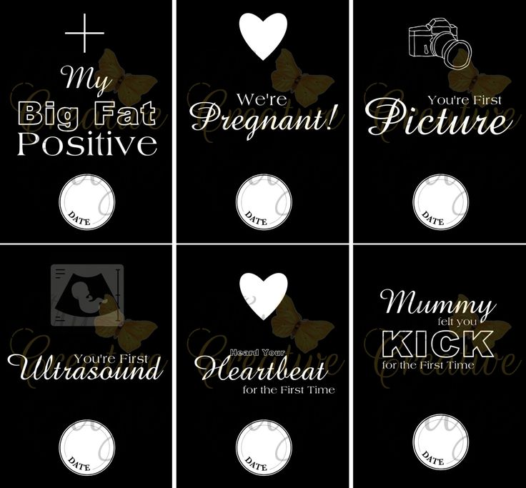 Pregnancy Milestone Cards - Black and White - Instant Download by MyCreatve3dge on Etsy