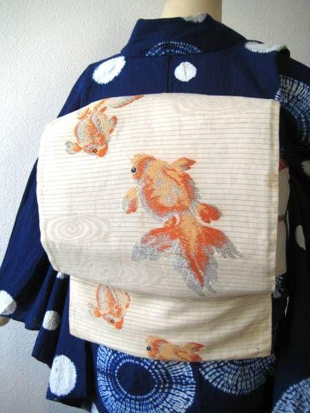 ☆流水に金魚柄絽アンティーク名古屋帯 着物 大正ロマン 夏帯_コーディネート例です。