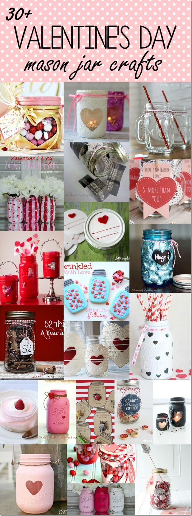 Valentine's Day Crafts & Gift Ideas Using Mason Jars - 30+ Ideas