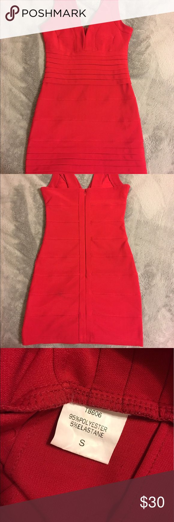 Tobi red bandage dress Bandage dress from Tobi, fits as a small, deep v-neck with thick straps, lightly worn in great condition Tobi Dresses Mini