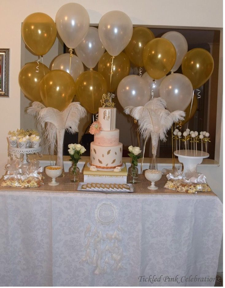 Gold and white boho baby shower high tea party table styled by www.tickledpinkcelebrations.com.au