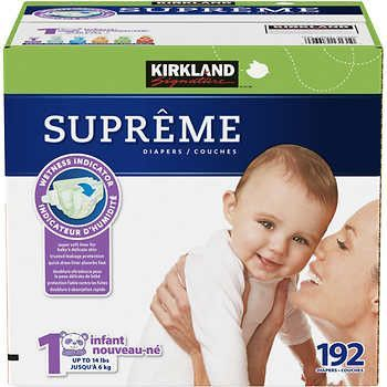 Kirkland Signature Supreme Diapers Size 1; 192ct