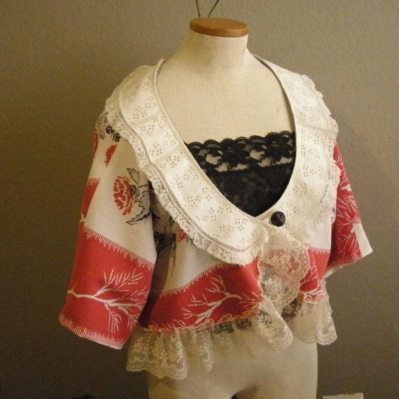 Upcycled shrug shawl collar vintage linen by