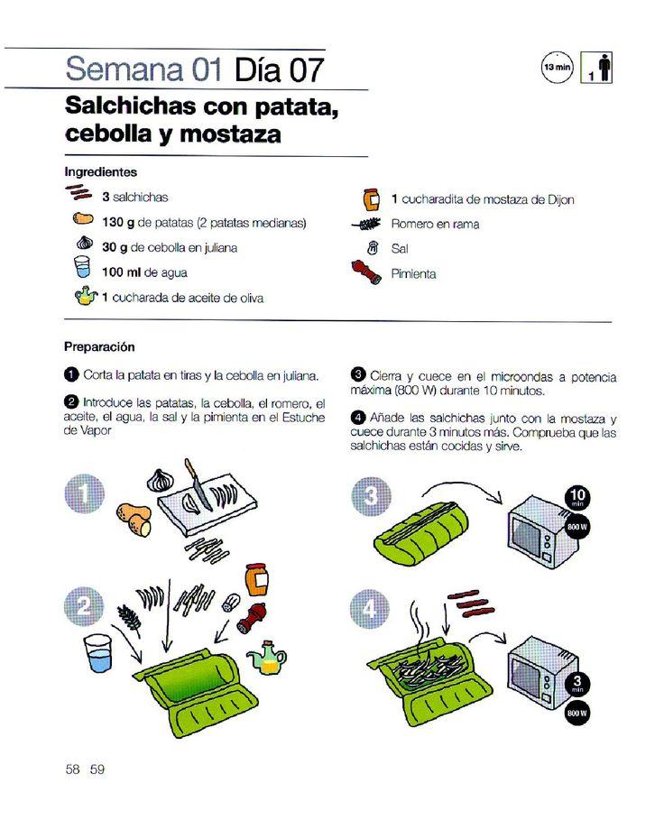 Salchichas con patatas, cebolla y mostaza lékué