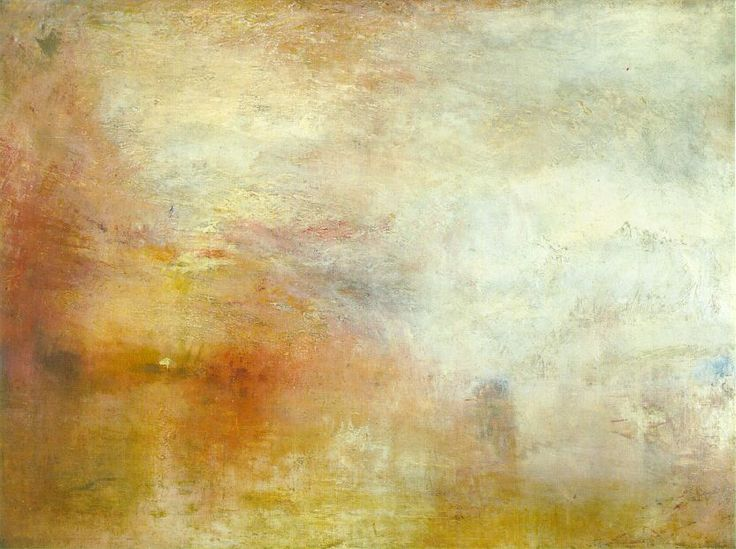 """""""Sun Setting over a Lake"""" J.M Turner,c. 1840; Oil on canvas, 91 x 122.5 cm; Tate Gallery, London.  Photo by Mark Harden"""