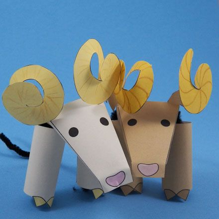 Click to enlarge image: Two bighorn sheep finger puppets