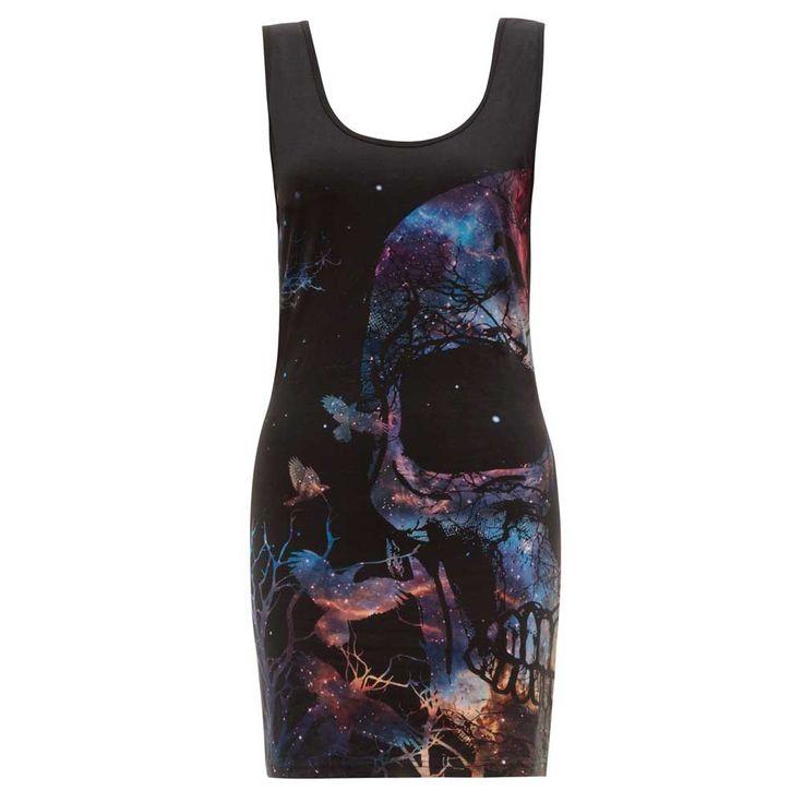 Jawbreaker Birds And Branches korte jurk met galaxy schedel en vogel p