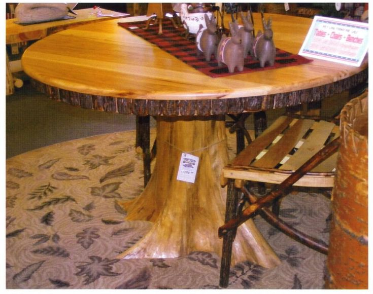 Amish rustic dining table 48 round tree trunk stump root for Tree trunk dining table