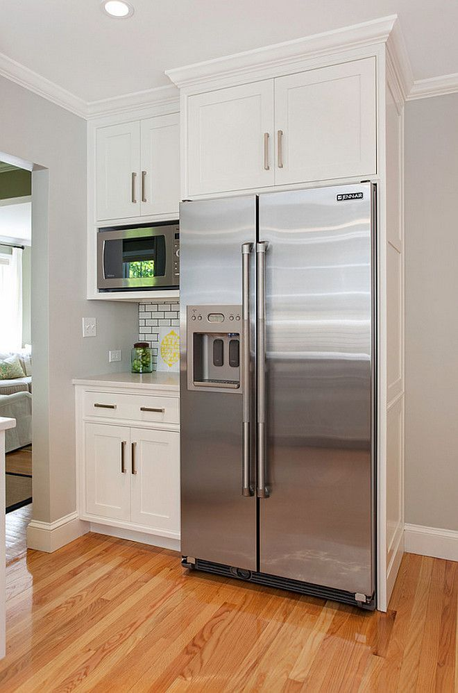 Fridge Cabinet. Kitchen Fridge cabinet. Kitchen fridge cabinet with microwave and bar. #Kitchen #Fridgecabinet #KitchenFridgecabinet Pennville Custom Cabinetry