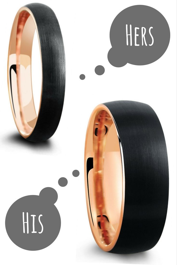 His and hers matching wedding ring set. 18k rose gold tungsten wedding rings designed with a black brushed textured top. This makes the perfect his and her wedding band set.