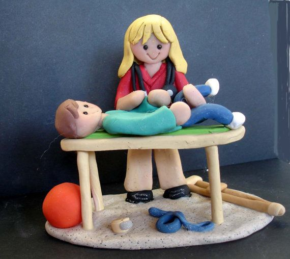 Physical Therapy Therapist Cake Topper Table Exercise Ball Handcrafted Polymer Clay Milestone Tape Crutch Stethoscope Bandage Exercise Ball