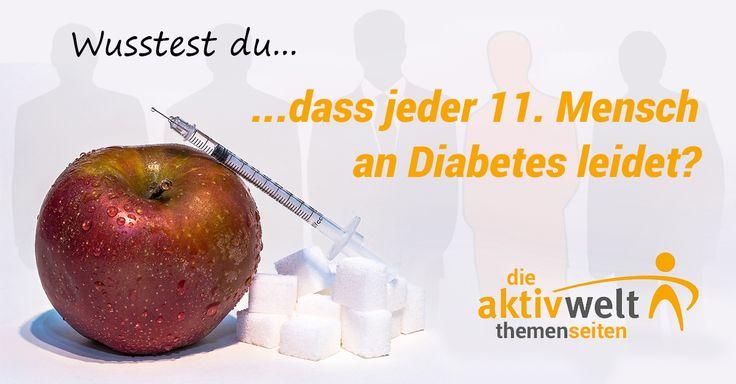 Insgesamt leiden 450 Millionen Menschen auf dieser Welt an Diabetes, Tendenz steigend. Und die Gefahr dieser Zuckerkrankheit wird dennoch unterschätzt. Auf unseren Aktivwelt-Themenseiten erfährst du, welche Ursachen Diabetes hat, wie du die Anzeichen erkennst und wie man die Krankheit behandelt.