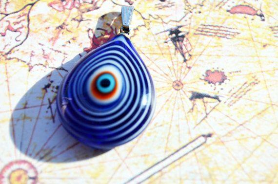 Murano Glass Evil Eye Pendant Lamp Work by PrettyTurkishThings, $5.00