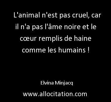 L'animal n'est pas cruel, car il n'a pas l'âme noire et le cœur remplis de haine comme les humains !