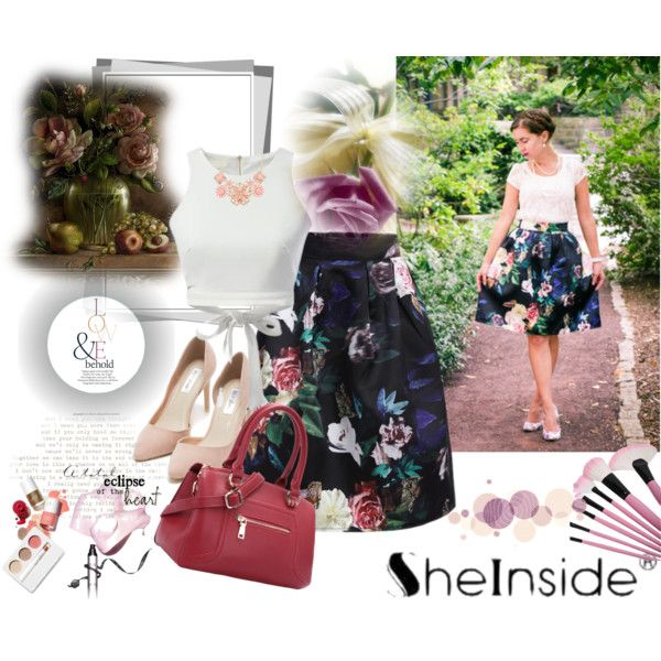 Shein skirt by irinavsl on Polyvore featuring Nly Shoes, SHOUROUK, Clinique and ASOS