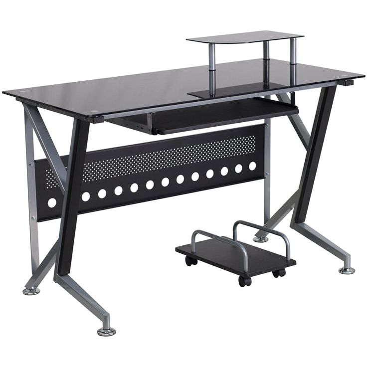 Cecil Black Office Desk with Pull-Out Tray and Cart