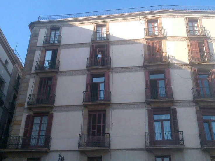 This was my first apartment from the outside, me standing on the balcon