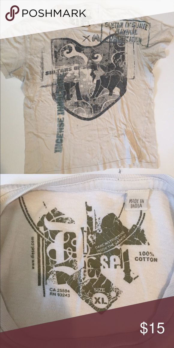 Diesel Brand Graphic tee. Great cream colored graphic tee.  Size men's XL. Shirts Tees - Short Sleeve