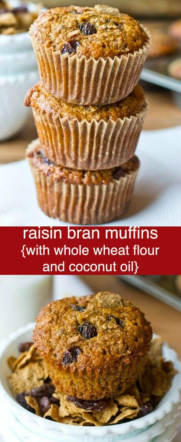 Raisin Bran Muffins are made with whole wheat flour, bran flakes and raisins for a sweet, healthy start to your day. Delicious freezer muffin recipe. Raisin Bran Muffins {with Whole Wheat Flour and Coconut Oil} via @tastesoflizzyt