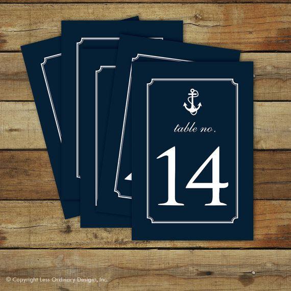 Numéros de tables de mariage marins