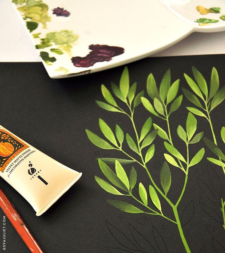 Gouache: Matte finish over acryl. Lichte wassnigen in combi met aquarel voor glimlichten. Kalkachtige bij lichte kleuren, veel wit.