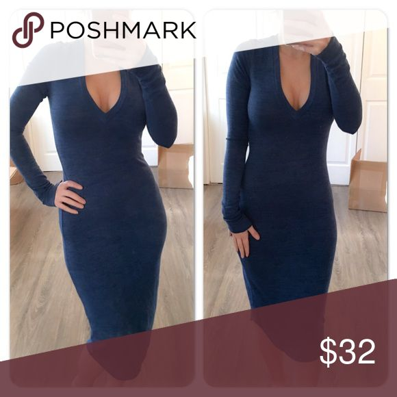 Blue long sleeve V-neck max dress Pretty blue long sleeve dress vneck. Comes to the calf. Im modeling an XS. For some reason the company sent these to me without the brand name on the tag but these are new and boutique items being sold for the first time Dresses Maxi