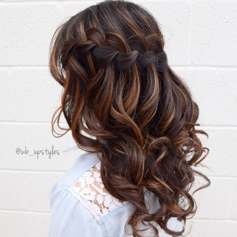 Lauren Co Maid Of Honor Waterfall Braid Wedding Hair