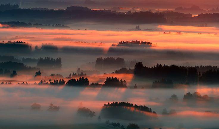 Alba nella nebbia in Baviera Germania