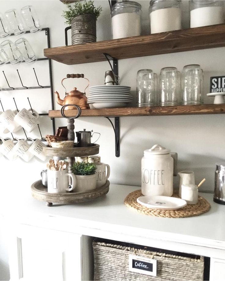 Open shelving for the kitchen. I like the brackets.