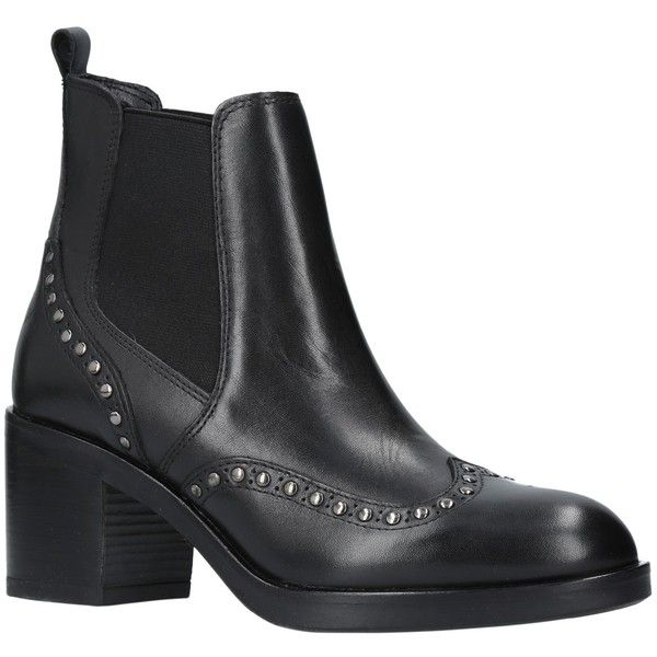 Carvela Stop Studded Block Heeled Ankle Chelsea Boots ($190) ❤ liked on Polyvore featuring shoes, boots, ankle booties, flat ankle boots, leather chelsea boots, flat leather boots, faux leather boots and chelsea boots