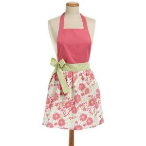 Kitchen fashion: Vintage apron: Pink apron with floral print and green side bow