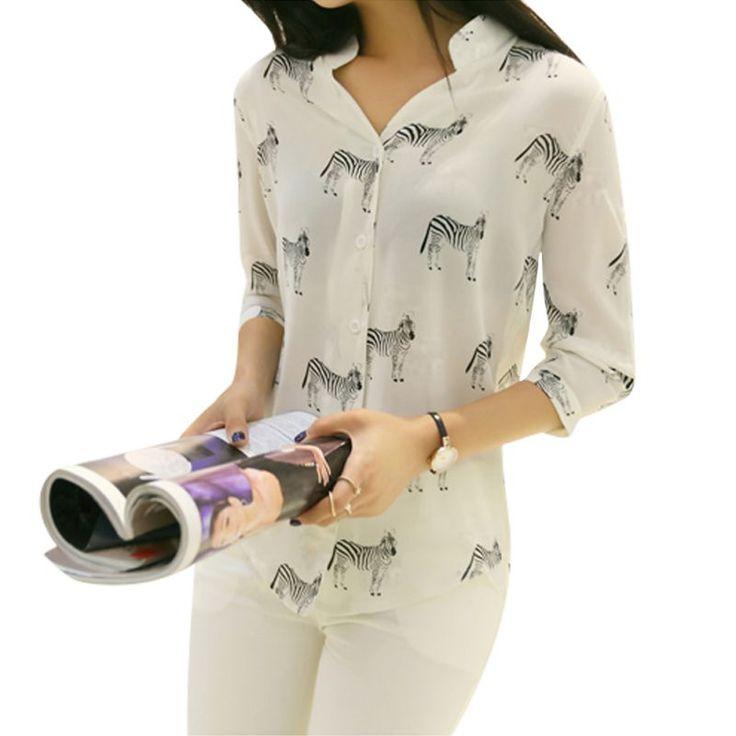 Factory Price Brand New Summer Women Long Sleeve Horse Printed Chiffon Shirts Fashion Slim Blouses Shirts on http://ali.pub/txjmr