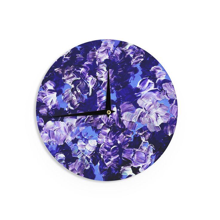 """Ebi Emporium """"Floral Fantasy"""" Purple Wall Clock"""