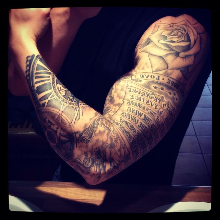#tattoo #sleeve #dante #paradiso #divinecomedy #rose #clock #compass #angels #gym #bicep