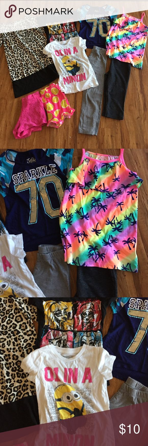 Girls 9 piece lot! 🌟 Girls size 7/8. Includes animal print 3/4 sleeve dress, 2 pair shorts, 2 leggings, 2 t-shirts, rainbow palm tree top (never worn) and short sleeve Sparkle top from Justice! Justice Matching Sets
