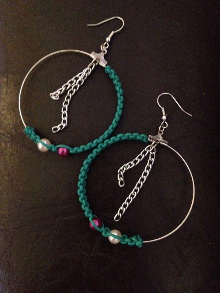 Handmade earrings. Silver chain, pearls, leather cord.    www.facebook.com/xtworld