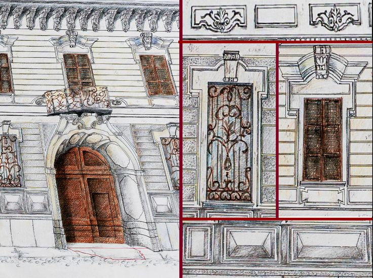 """""""Casa Bossi"""" by Alessandro Antonelli - perspective -Indirect relief - Detail #1 -Ink and coloured pencils on paper"""