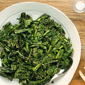 Crispy Grilled Kale with Creamy Sesame Dressing