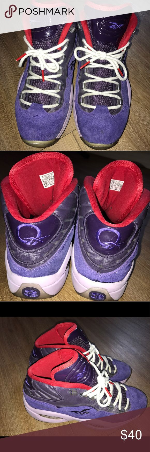 Men's Reebok Questions by Allen Iverson Purple and red editions. No defects and in perfect shape. True to size Reebok Shoes Sneakers