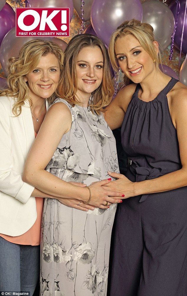 Baby joy: Coronation Street actress Paula Lane is joined by co-stars Jane Danson (left) and Catherine Tyldesley (right) at her leaving party
