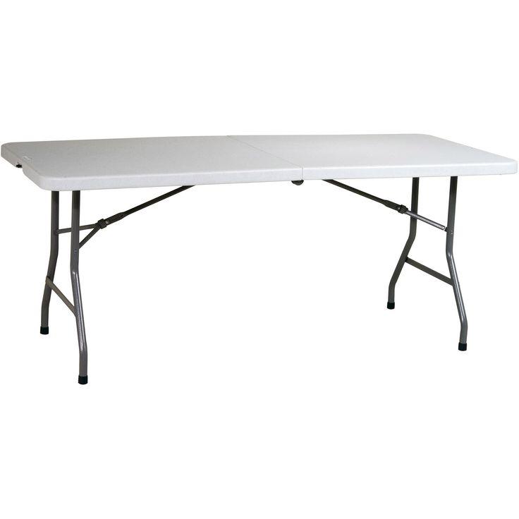 Work Smart Resin 6' Folding Multipurpose Table, Light Grey